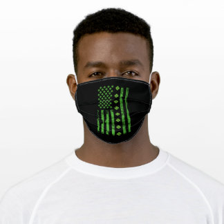US flag on St. Patricks day Adult Cloth Face Mask