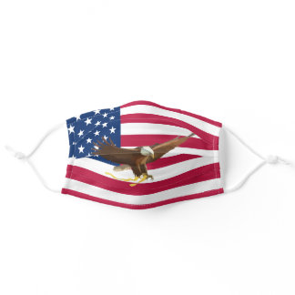 US Flag with Hand Painted Bald Eagle   Patriotic Adult Cloth Face Mask