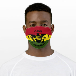 US Virgin Islands Flag St. Croix Red Yellow Green Adult Cloth Face Mask