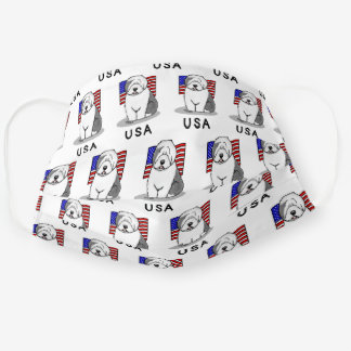 USA American Flag Old English Sheepdog (Gray 1) Cloth Face Mask