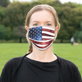 USA flag red blue sparkles glitters Adult Cloth Face Mask