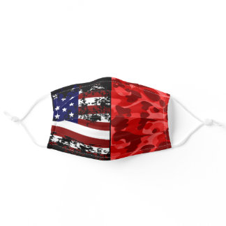 USA Flag Red Camouflage US Patriotic Camo Pattern Adult Cloth Face Mask