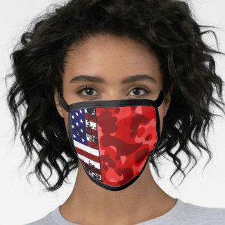 USA Flag Red Camouflage US Patriotic Camo Pattern Face Mask