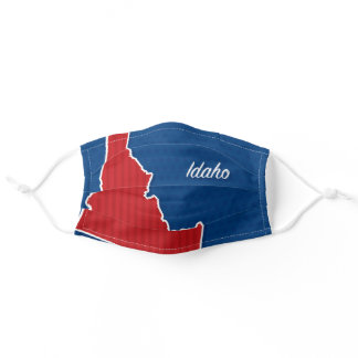 USA Idaho State Patriotic Stars and Stripes Map Adult Cloth Face Mask