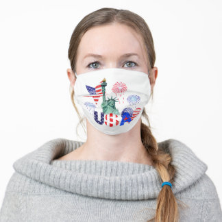 USA in 4th of July Adult Cloth Face Mask