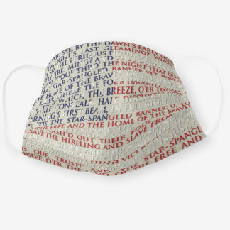 USA National Anthem Text Patriotic Flag Cloth Face Mask