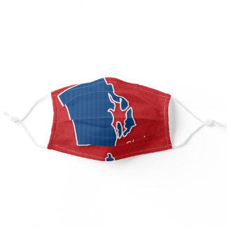 USA Rhode Island State Stars and Stripes Map Adult Cloth Face Mask
