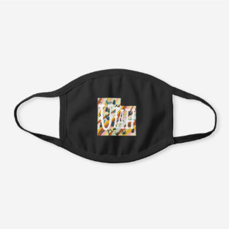 UTAH STATE Illustrated Map Black Cotton Face Mask