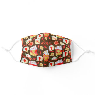 Valentine Holiday Love Cocoa Cupcakes Adult Cloth Face Mask