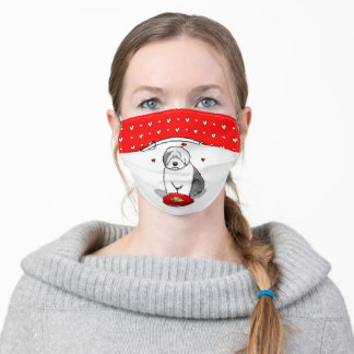 Valentine's Day Old English Sheepdog Gray 1 Cute Adult Cloth Face Mask