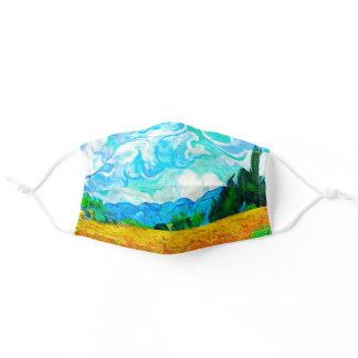 Van Gogh Wheatfield with Cypresses Adult Cloth Face Mask