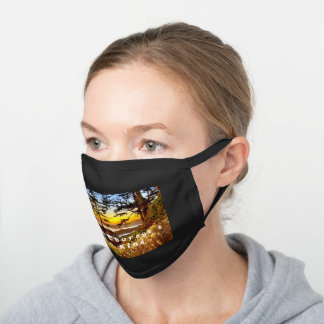 Vancouver Island sunset facemask Black Cotton Face Mask