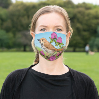 Vermont Bird Hermit Thrush & Red Clover Flowers Adult Cloth Face Mask