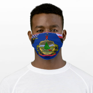 Vermont Flag w/ Stars Strip on Yellow Gold Adult Cloth Face Mask