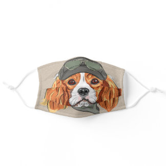 Very Cute King Charles Spaniel Design Adult Cloth Face Mask