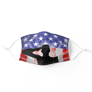 Veteran, USA, Salute, Soldier, Flag, Army Adult Cloth Face Mask