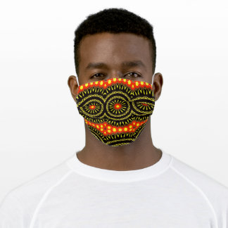 Vibrant Black Red Yellow Adult Cloth Face Mask