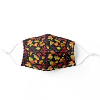 Vibrant Fall Leaves Pattern Black | Multi-Colored Adult Cloth Face Mask
