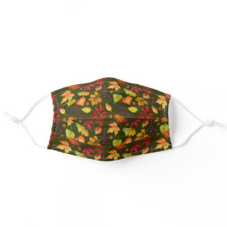 Vibrant Fall Leaves Pattern Dk Olive Multi-Colored Adult Cloth Face Mask