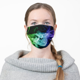 Vibrant Green Blue Purple Abstract Smoke Adult Cloth Face Mask