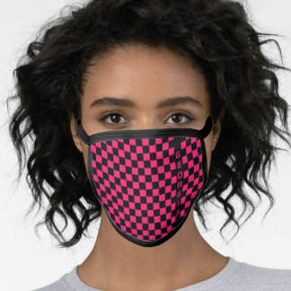 Vibrant Pink Black Racing Flag Checkerboard Custom Face Mask