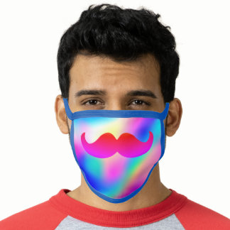 Vibrant Rainbow Color Funny Mustache Safety Face Mask