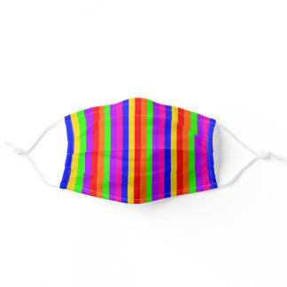 Vibrant Rainbow Vertical Stripes Pattern Adult Cloth Face Mask