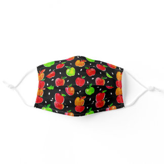 Vibrant Watercolor Apples Pattern Adult Cloth Face Mask