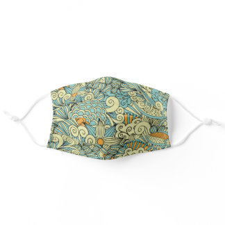 Vintage Abstract Floral Cloth Face Mask Cover