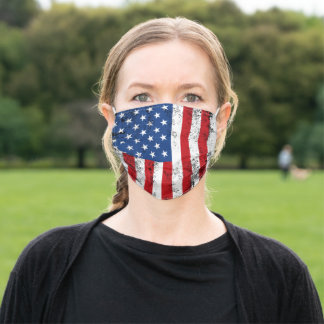 Vintage American Flag Design Red White Blue USA Adult Cloth Face Mask