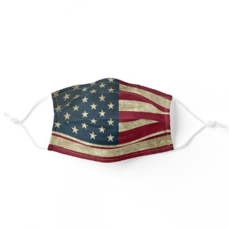 Vintage American Flag Patriotic US Retro Cute Cool Adult Cloth Face Mask