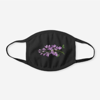 Vintage Botanical Wisteria Flower Floral Black Cotton Face Mask