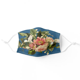 Vintage Cerulean Botanical Floral Print Bouquet Adult Cloth Face Mask