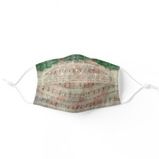 Vintage Christmas Carol Sheet Music Adult Cloth Face Mask