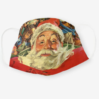 Vintage Christmas, Santa Claus in Sleigh with Toys Cloth Face Mask