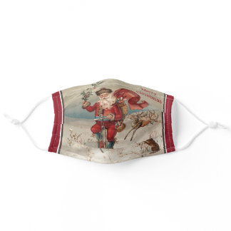 Vintage Christmas Santa on a Unicycle Snow Bunny Adult Cloth Face Mask
