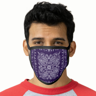 Vintage Deep Purple Paisley Print Bandana Face Mask
