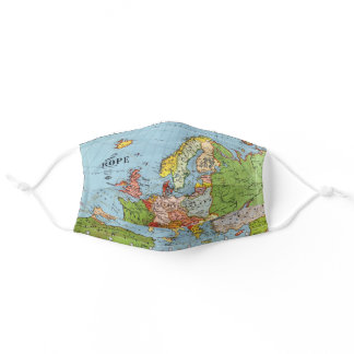 Vintage Europe 20th Century General Map Adult Cloth Face Mask
