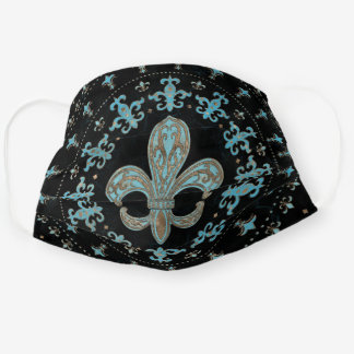 Vintage Fleur-de-lis Teal and Gold Cloth Face Mask