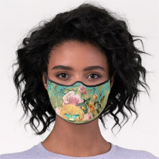 Vintage Floral and Butterfly Bouquet Premium Face Mask