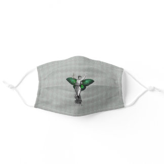 Vintage Green Wing Fairy Adult Cloth Face Mask