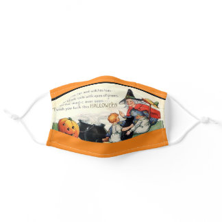 Vintage Halloween Greeting Card Comfortable Adult Cloth Face Mask