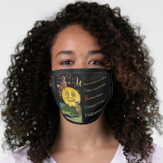 Vintage Halloween Moon Watching Witch with Poem Face Mask