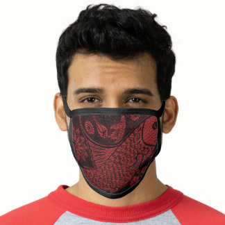 Vintage Japanese Print Red Ink Tattoo Face Mask
