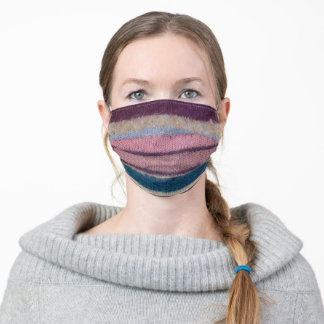vintage knitted uneven colorful stripes adult cloth face mask