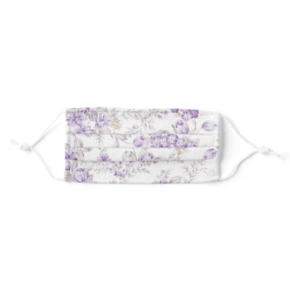 Vintage Lavender and Purple Flowers Pattern Adult Cloth Face Mask