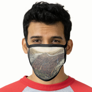Vintage New York City, Manhattan, Brooklyn Bridge Face Mask