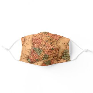 Vintage New York City Manhattan Map Adult Cloth Face Mask