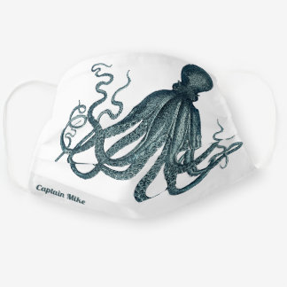 Vintage Octopus Undersea Creature with Name Cloth Face Mask