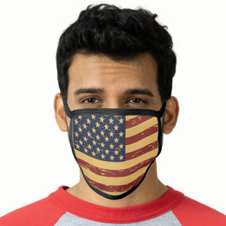 Vintage Red Print American Flag Face Mask